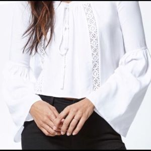 Kendall and Kylie Cropped Bell Sleeve Peasant Top